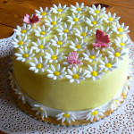 Žlutý dort se sedmikráskami