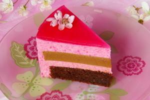 dort s třešňovou pěnou řez