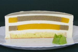 mousse cake s želé z manga a kiwi